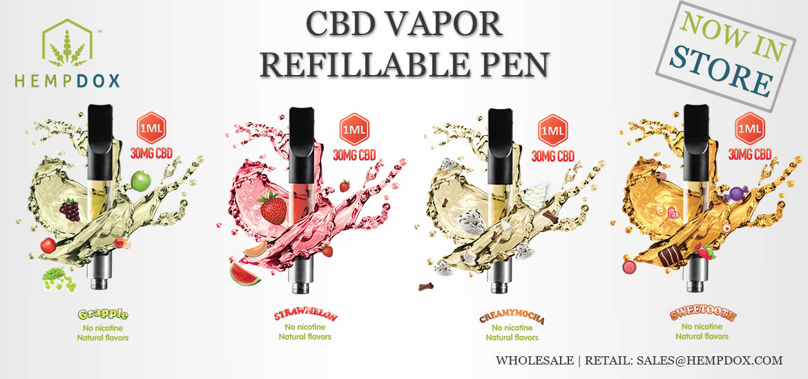 Refillable CBD Vapor Pen High Concentrate HempDox Wholesale Retail USA